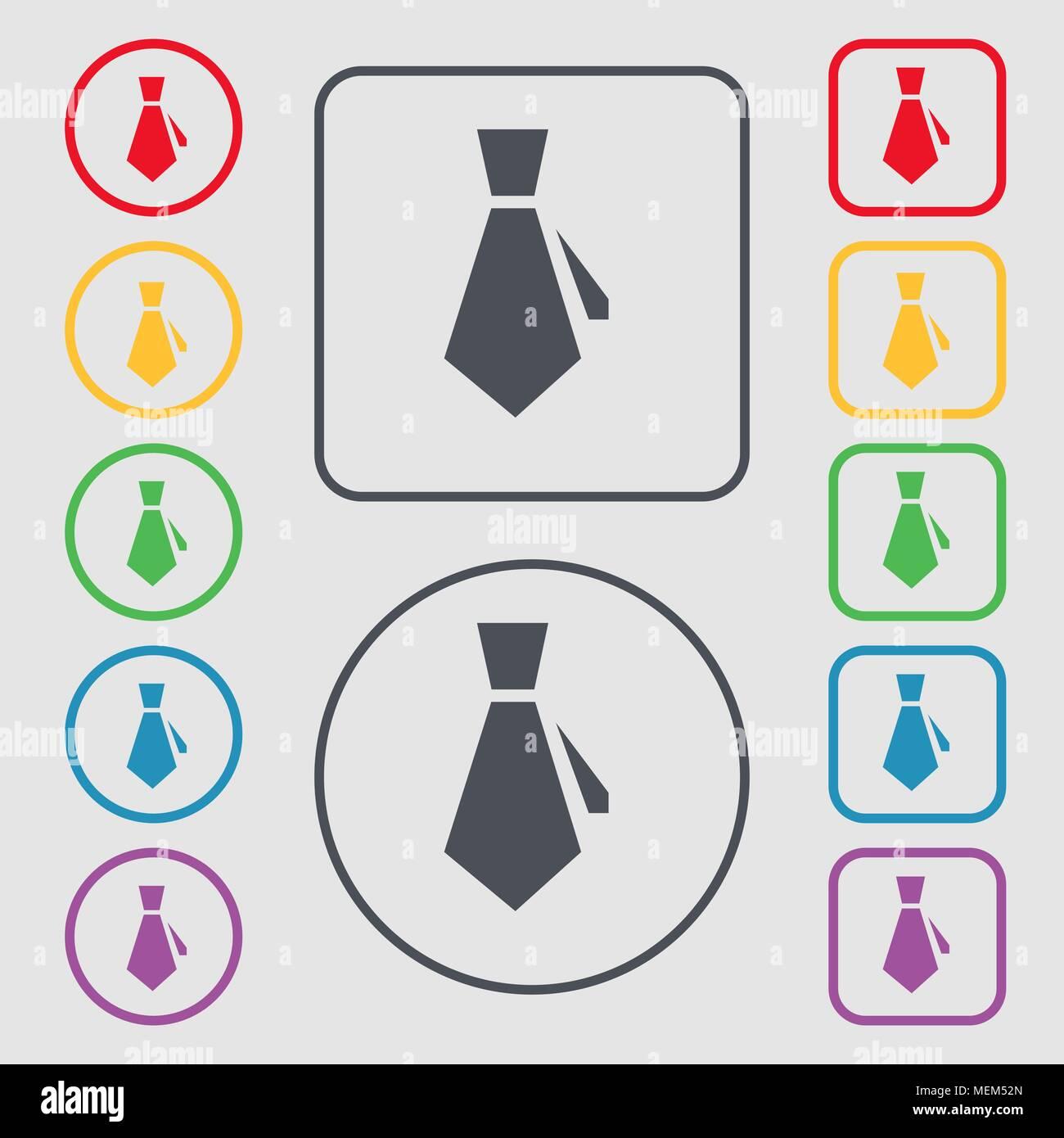 Krawatte Symbol unterzeichnen. Symbol auf der Runde und quadratische ...