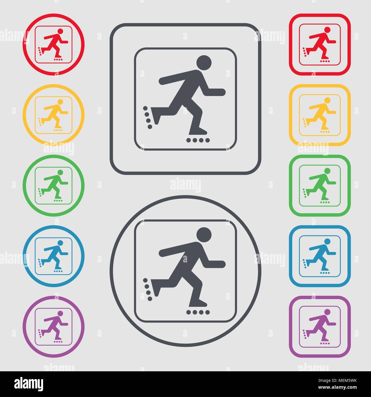 Roller Skating Symbol unterzeichnen. Symbol auf der Runde und ...