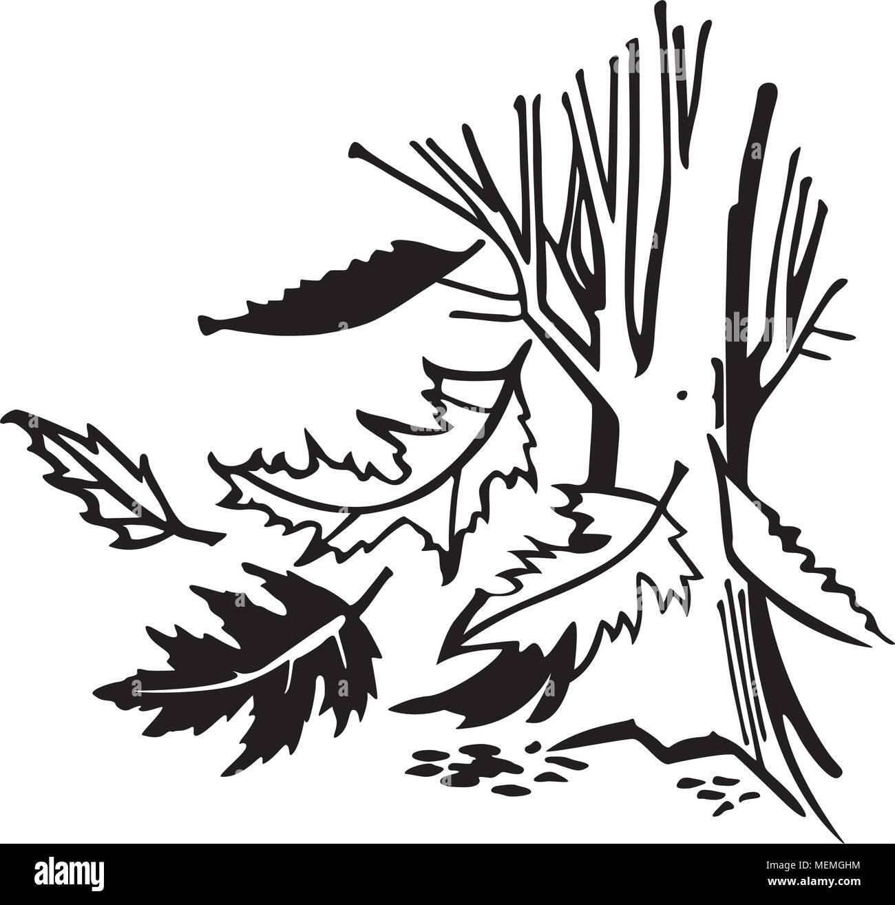 Fallende Blätter Im Herbst Retro Clipart Illustration Vektor