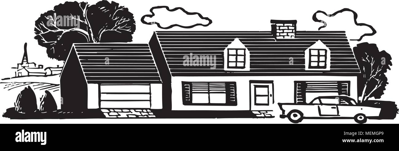 Haus Der Familie Retro Clipart Illustration Vektor Abbildung