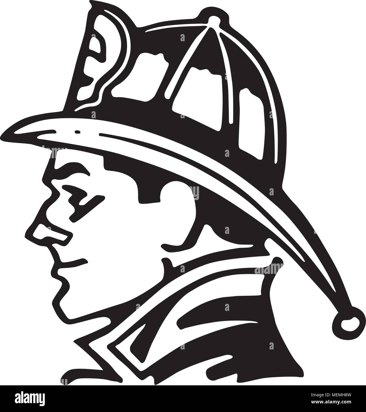 Feuerwehrmann Symbol Retro Clipart Illustration Vektor Abbildung