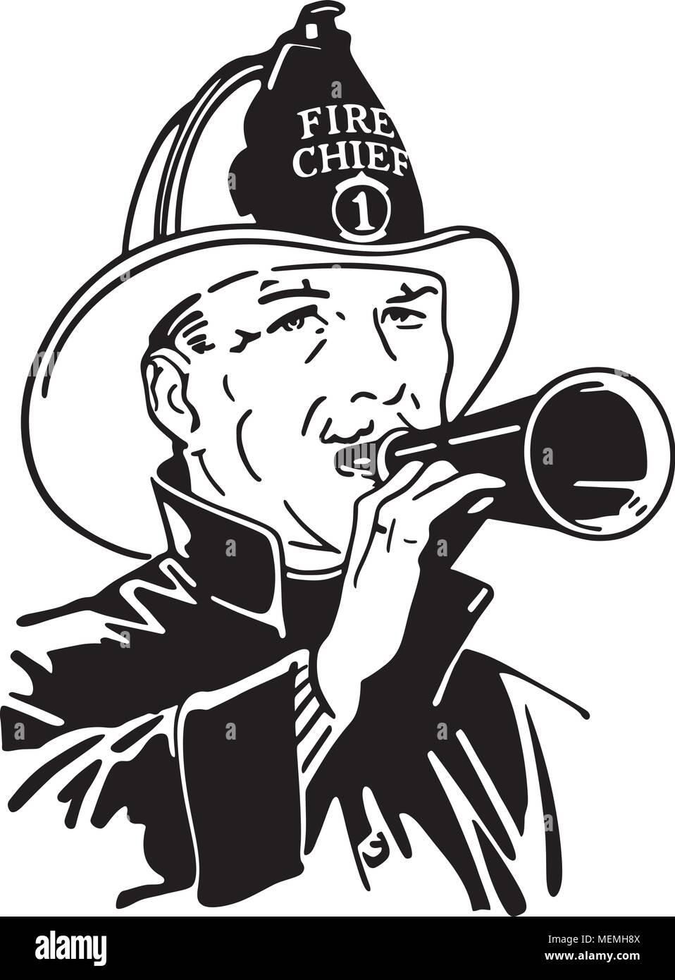 Feuerwehrmann Mit Megaphon Retro Clipart Illustration Vektor