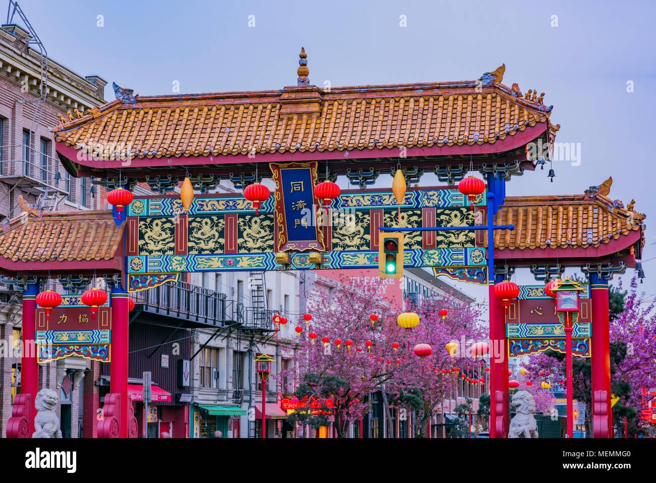 Tor der Harmonischen Interesse, Fisgard Street, Chinatown, Victoria, British Columbia, Kanada. Stockbild