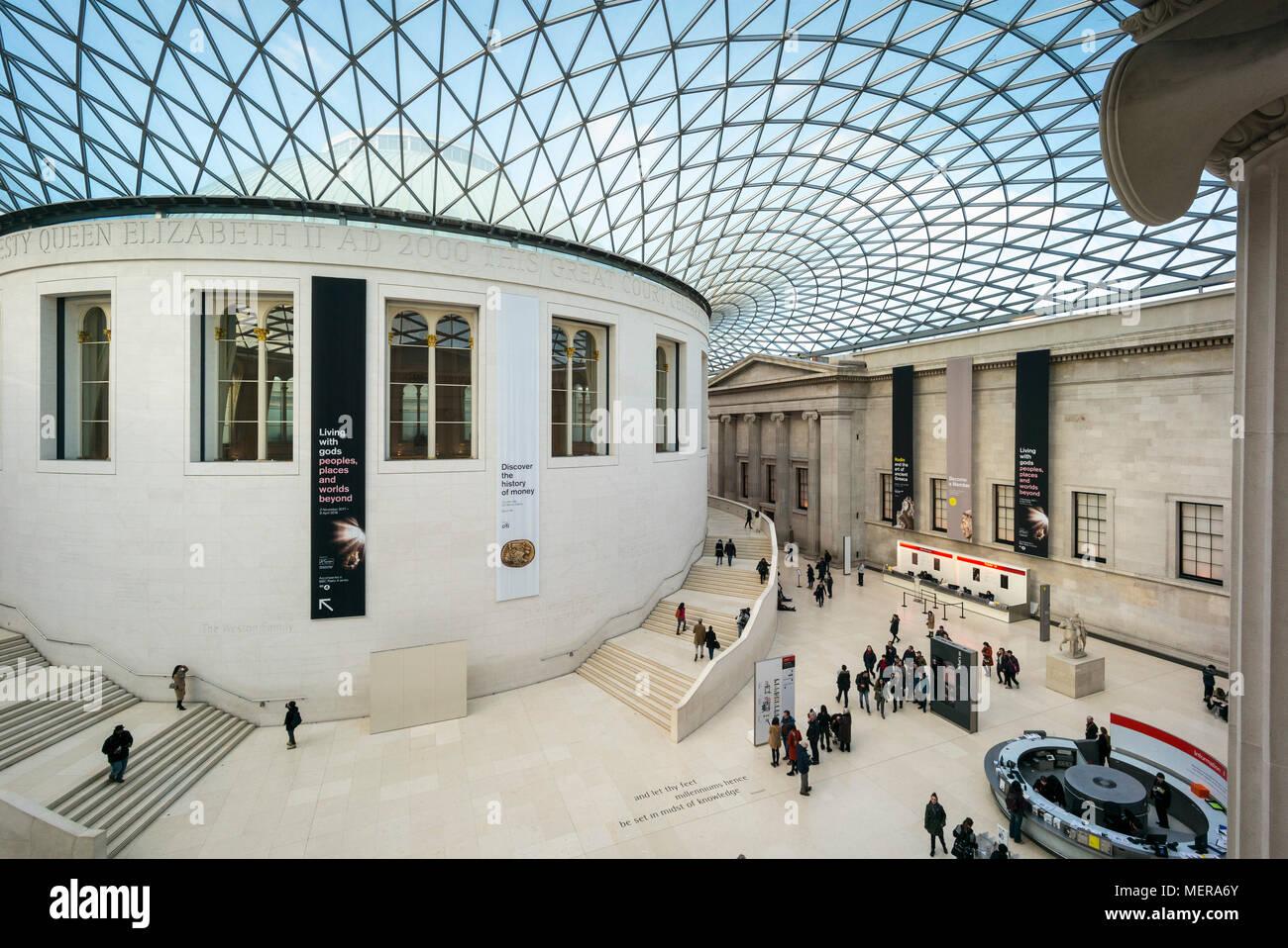 London. England. Das British Museum, der große Hof, Interieur, mit ...