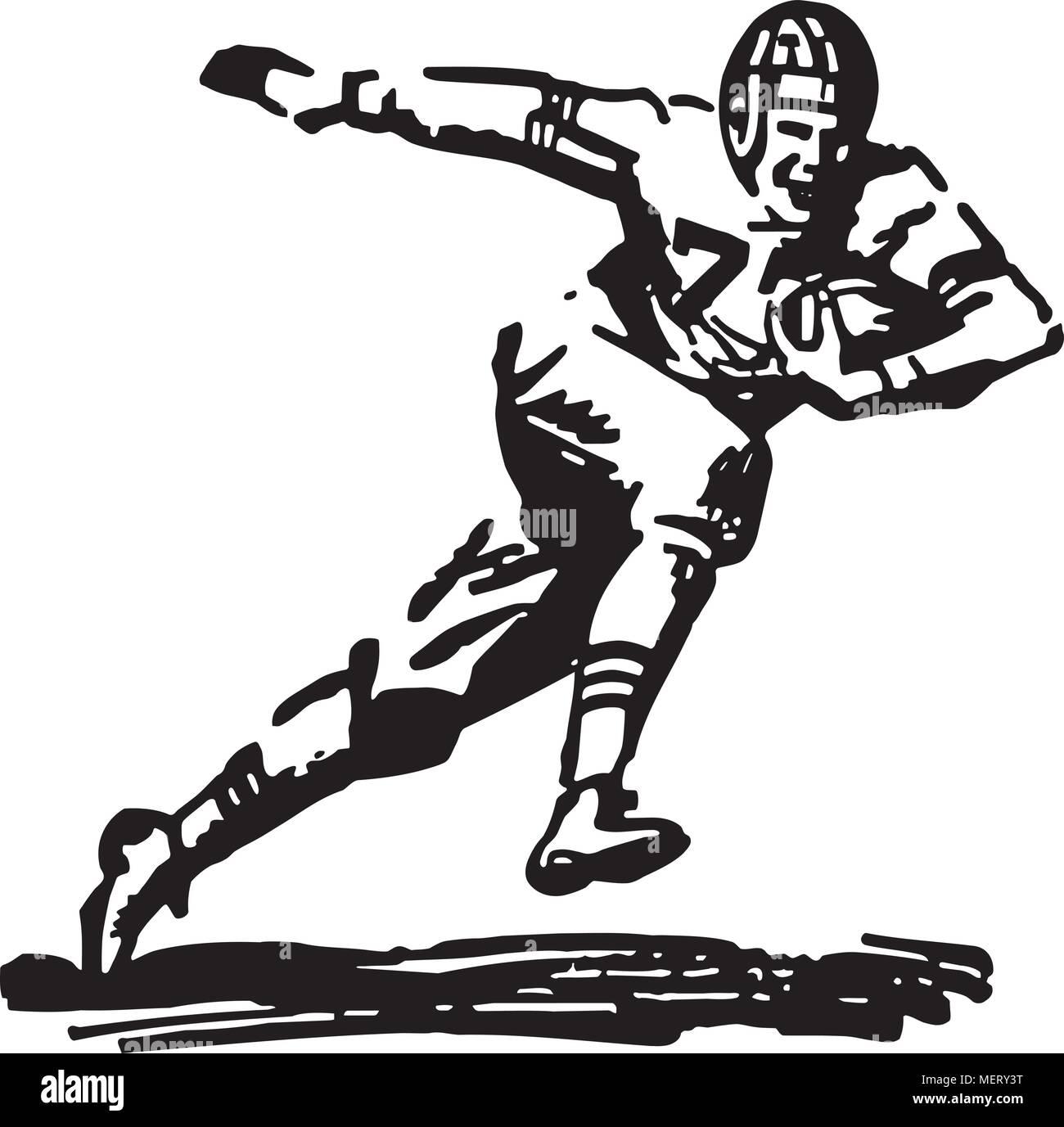 Fussballspieler Mit Ball Retro Clipart Illustration Vektor