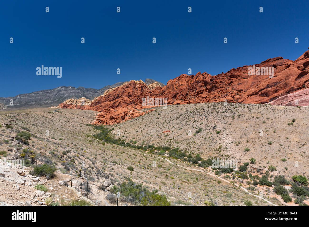 Red Rock Canyon gegen ein strahlend blauer Himmel - Las Vegas, Nevada Stockbild