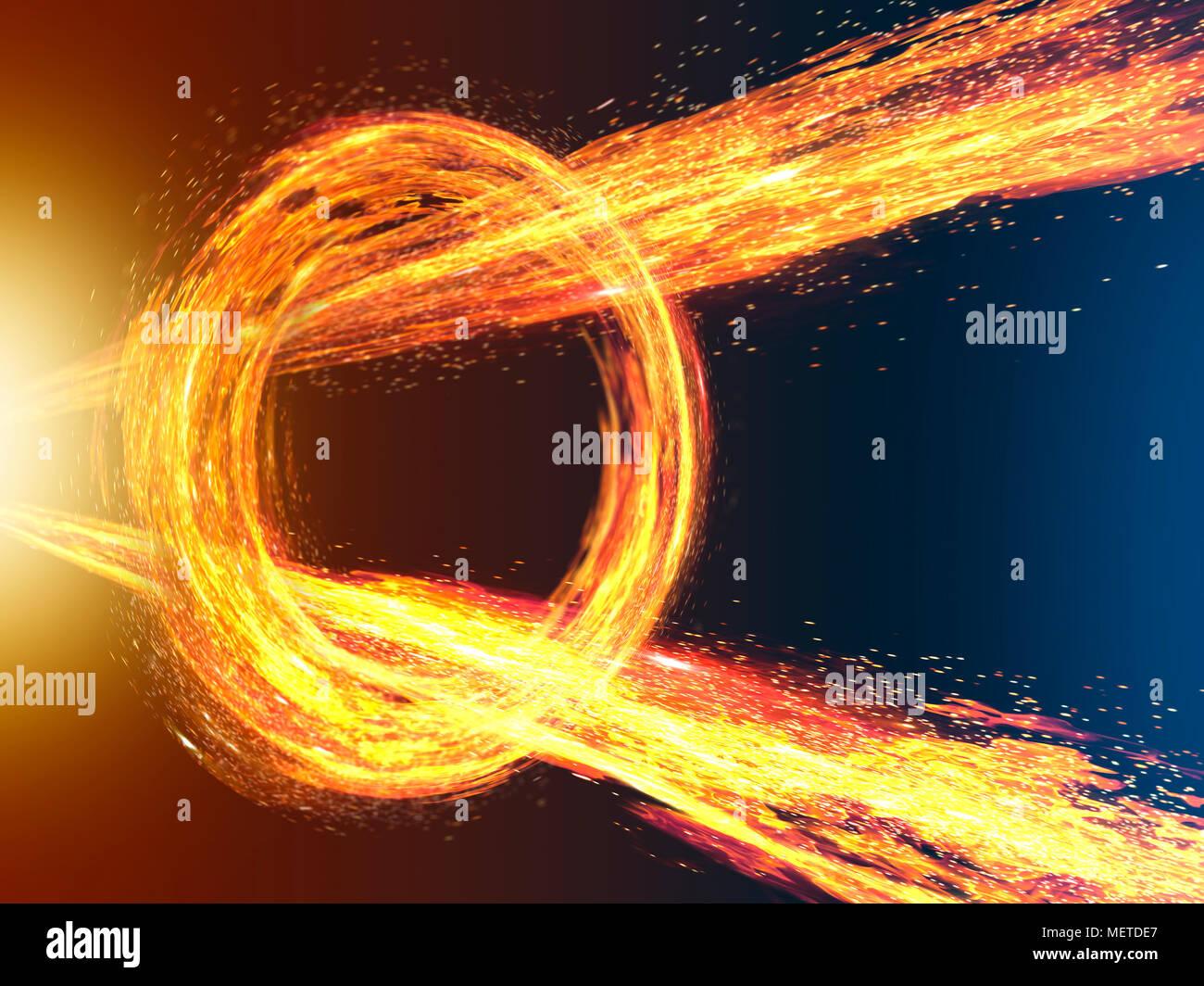 Strahlen Feuer Durchbruch Spinning Fire Ring Stockbild