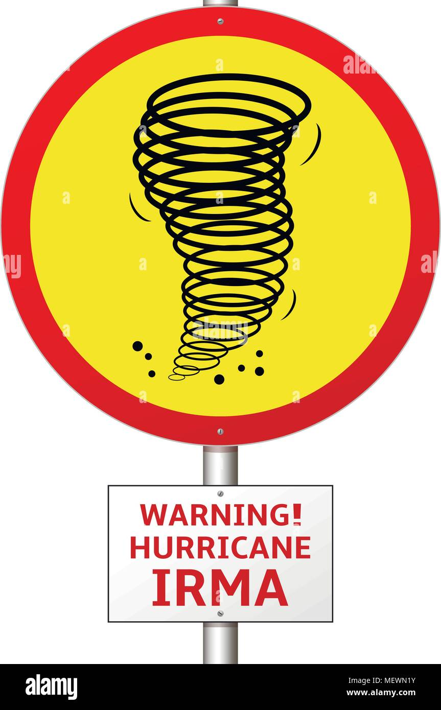Hurricane Irma Road Sign Konzept. Vector Illustration. Stockbild