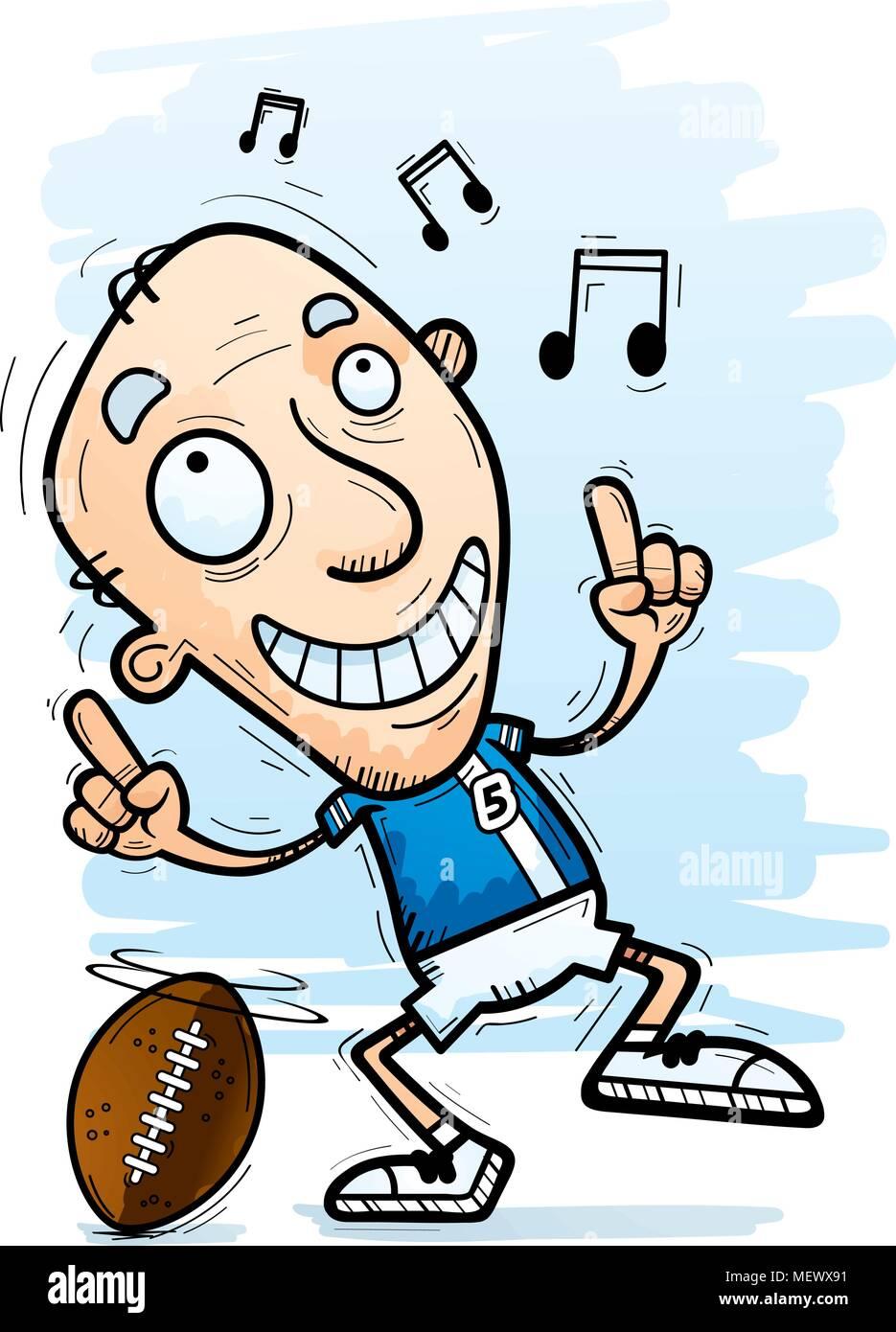 Ein Cartoon Illustration Eines Alteren Burgers Mann Fussball