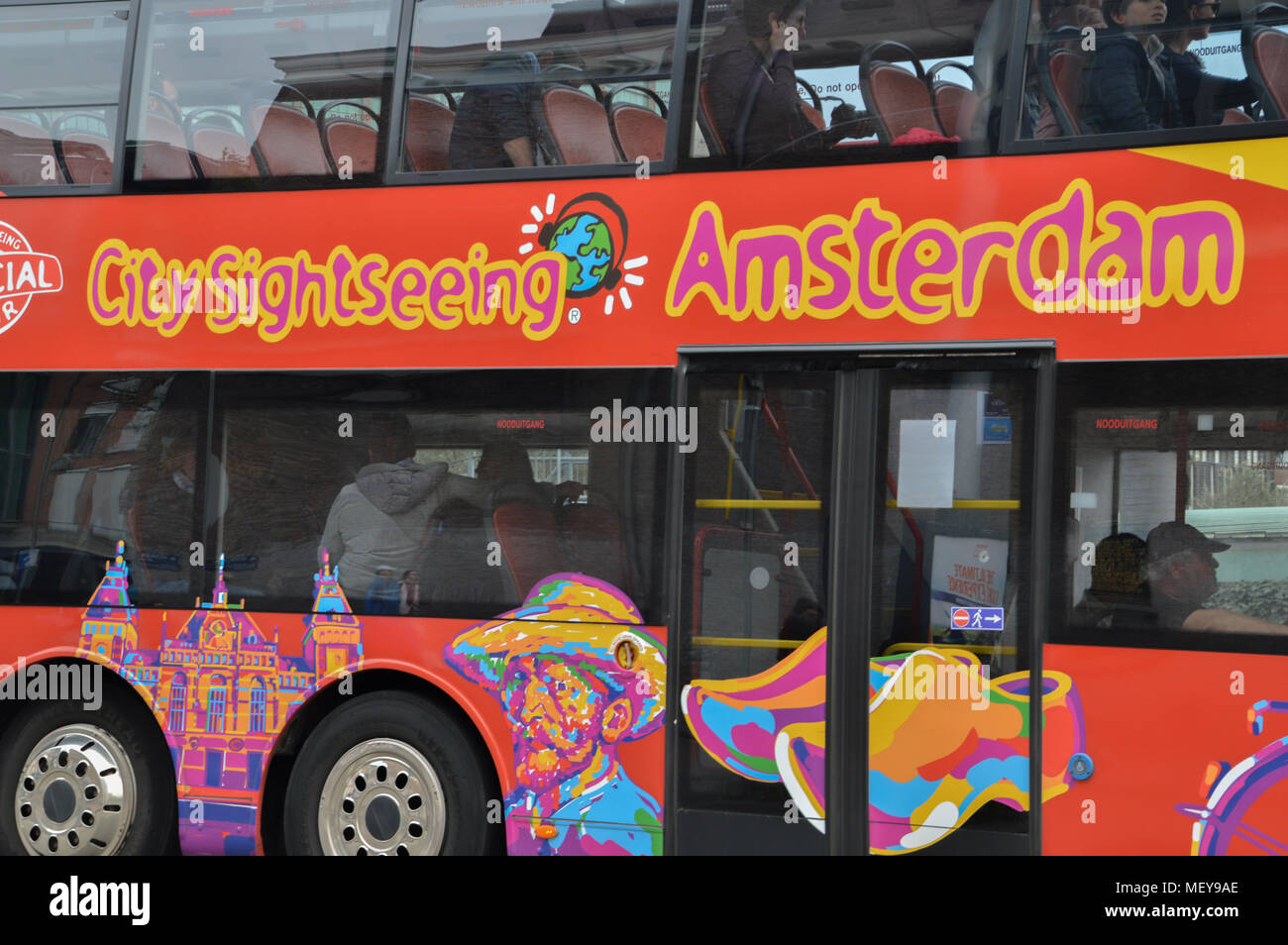 City Sightseeing Bus in Amsterdam Die Niederlande Stockbild