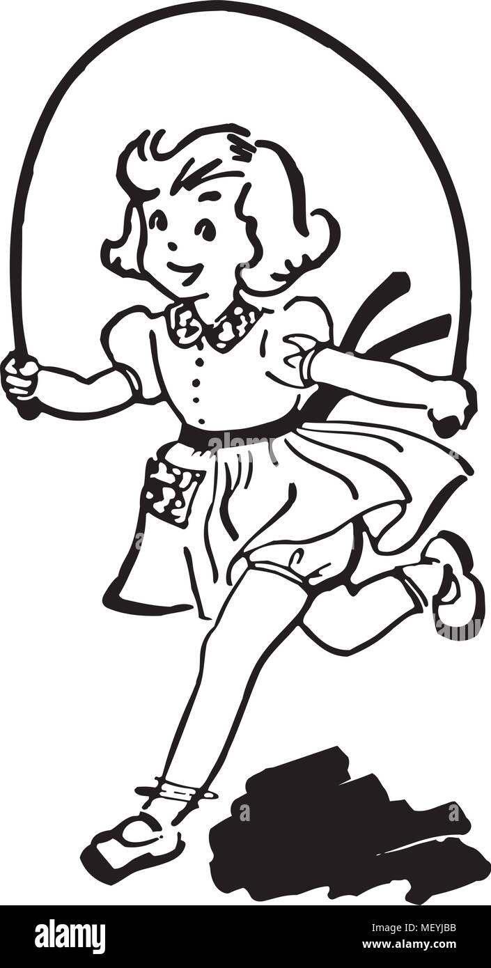 Mädchen Mit Ein Springseil Lizenzfrei Nutzbare Vektorgrafiken, Clip Arts,  Illustrationen. Image 8888033.