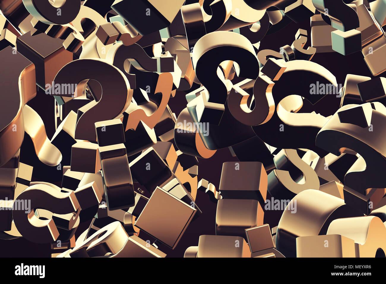 3D Rendering Illustration von explodierenden Fragezeichen Teilchen als Konzept der perplexion und Verwirrung, auf der Suche nach Antworten Stockbild