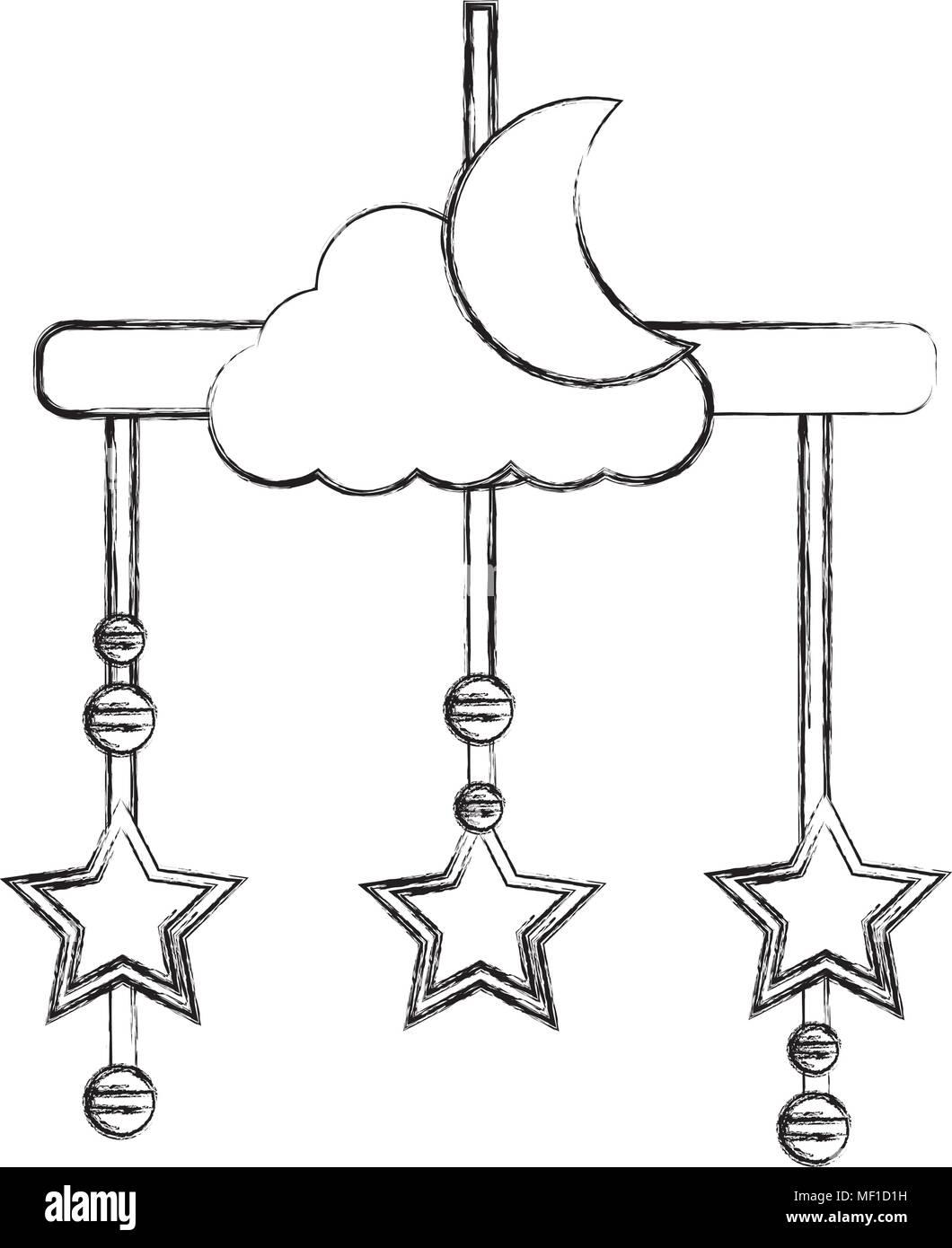 Baby Mobile Mit Mond Und Sterne Hangend Symbol Vektor Abbildung