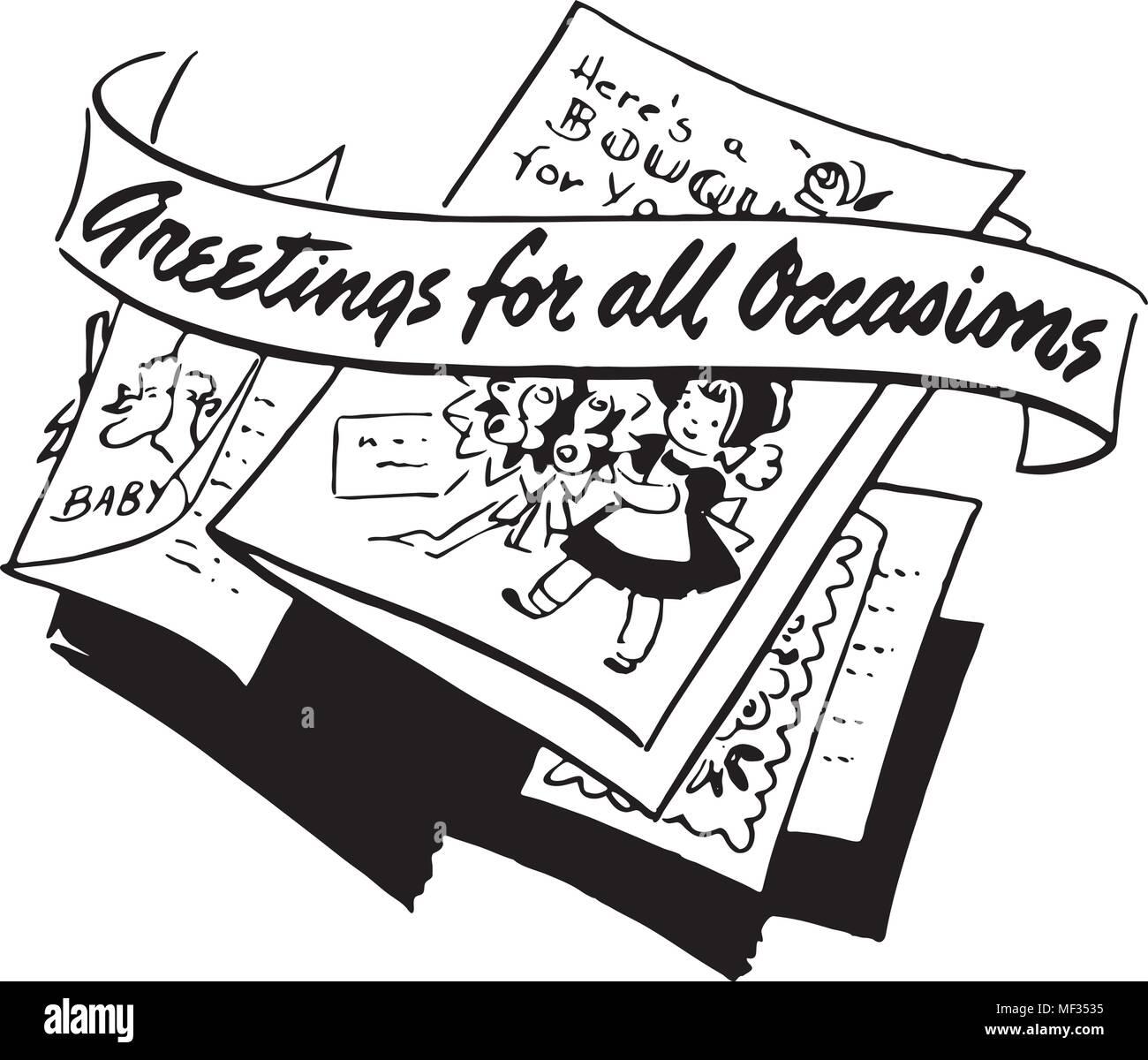 Grüße für alle Gelegenheiten - Retro Clipart Illustration Vektor ...