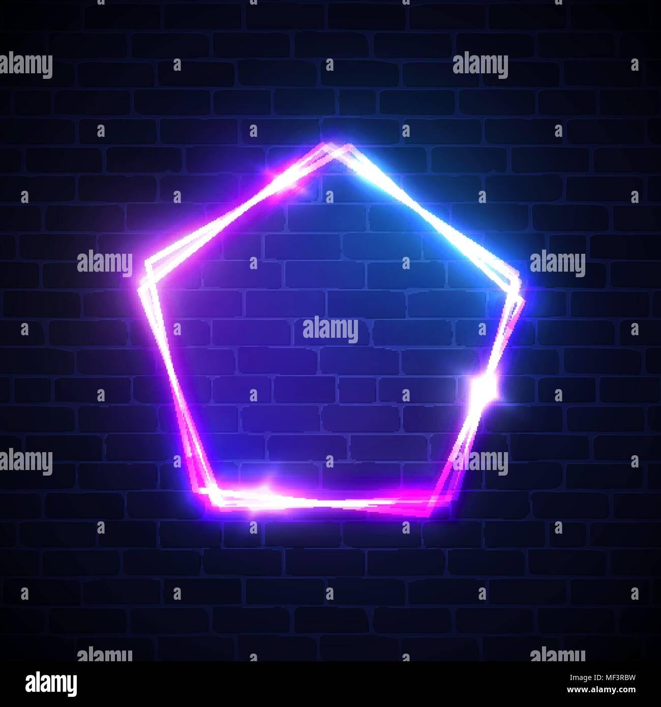Neonlicht Hintergrund. Pentagon Form unterzeichnen. Leuchtende ...