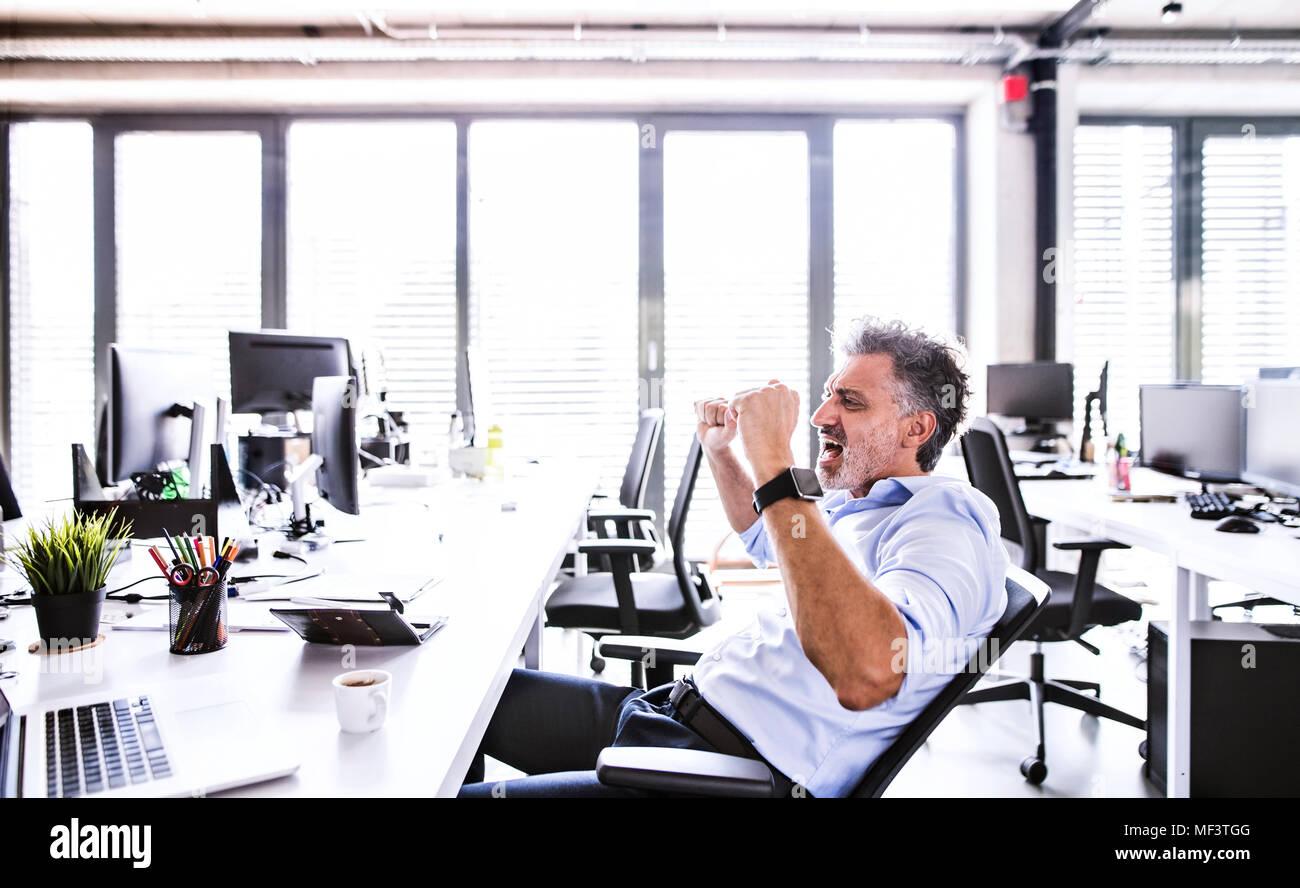 Gerne reife Geschäftsmann Jubel am Schreibtisch im Büro Stockbild