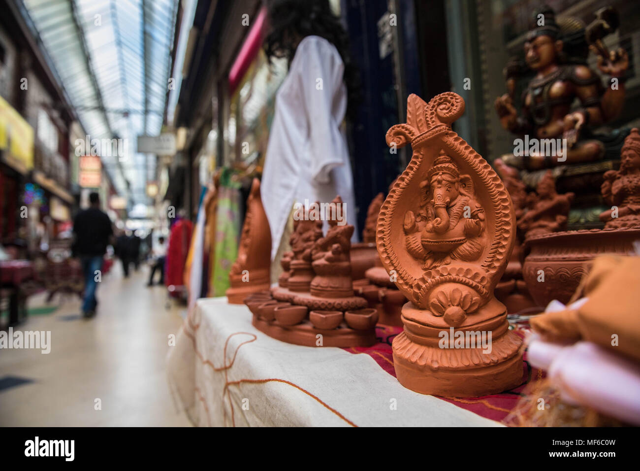Ganesh Statue in der Passage Brady, Paris Stockbild
