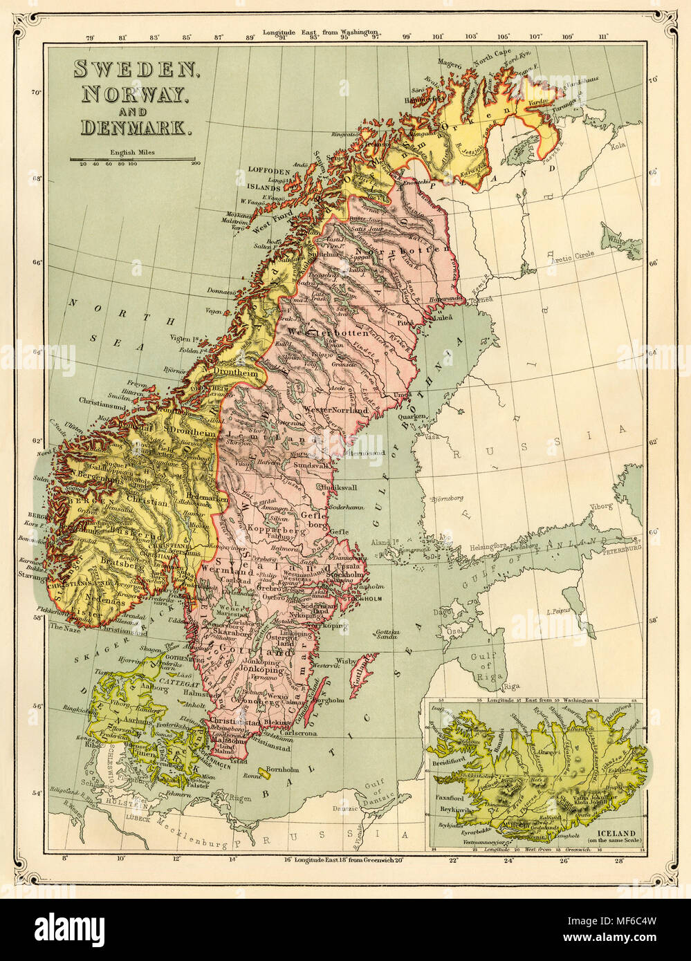 Karte Norwegen Schweden.Karte Von Norwegen Schweden Dänemark Und Island 1870 Gedruckte