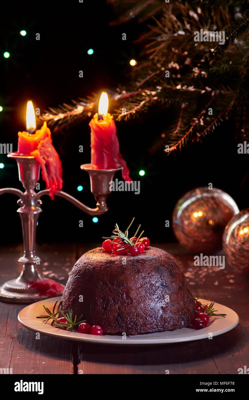 Traditionelle britische Weihnachtspudding Stockbild