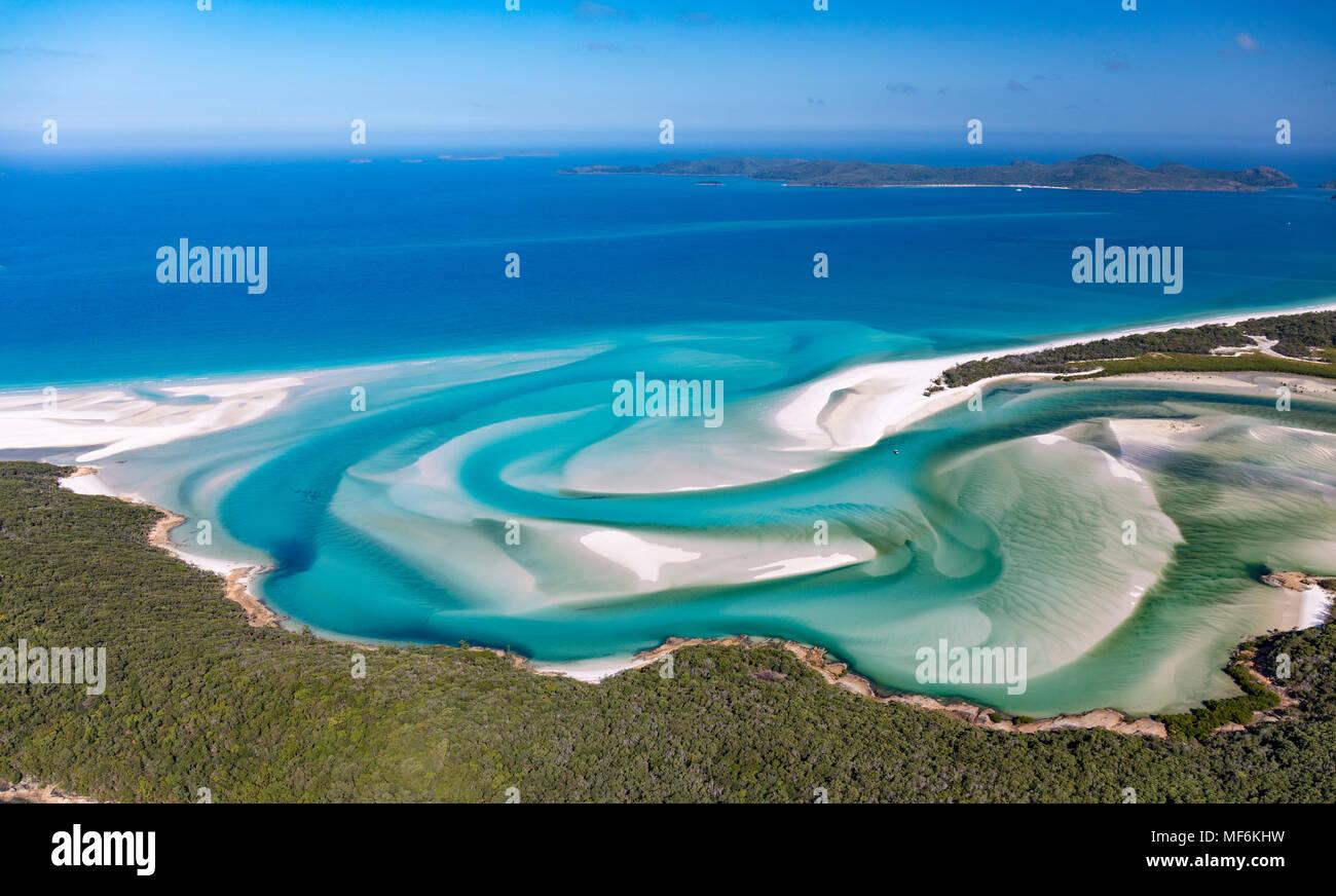Hill Inlet, türkisfarbenes Wasser, Whitsunday Island, Queensland, Australien Stockbild