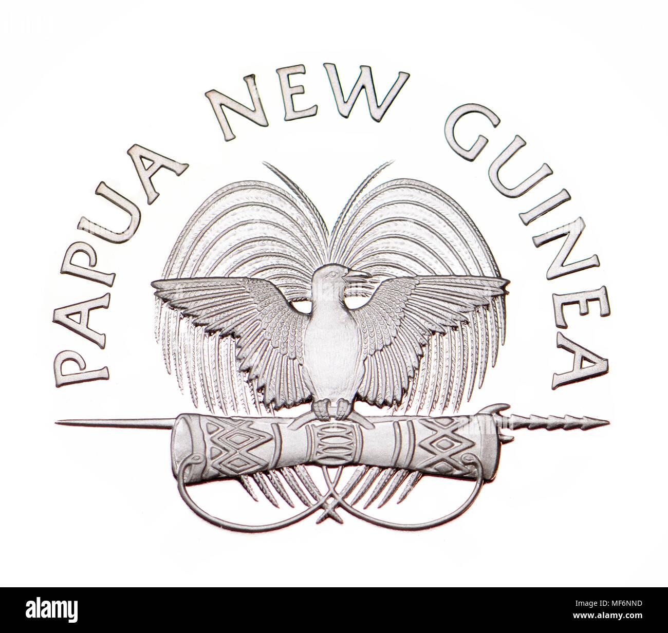 Papua Neuguinea Wappen Bird Of Paradise Ausschnitt Aus Einem 10