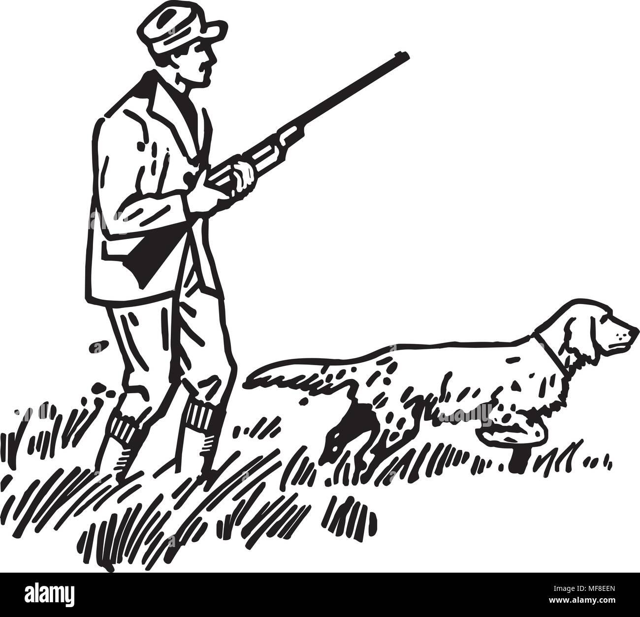 Jäger Mit Hund Retro Clipart Illustration Vektor Abbildung Bild