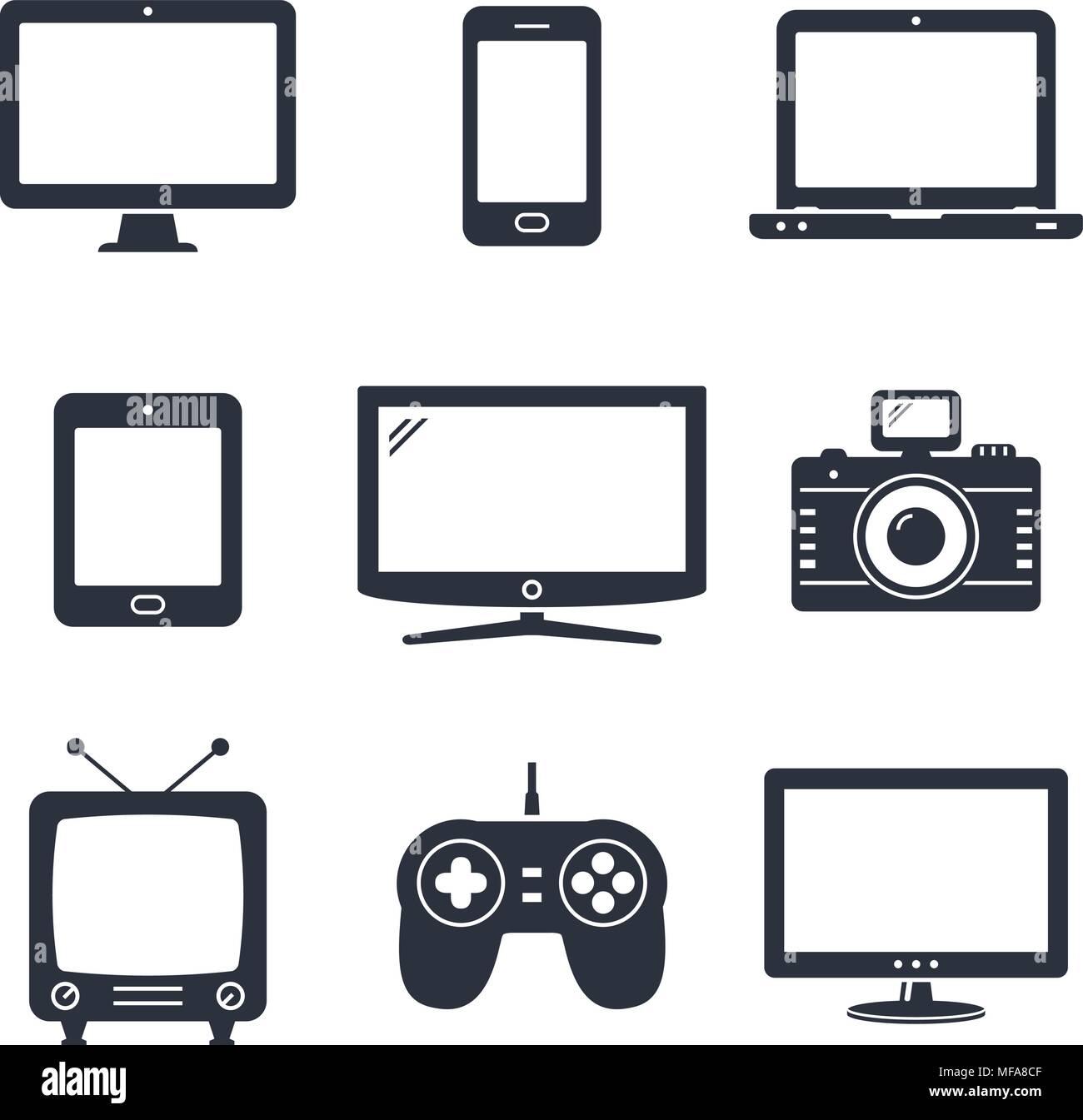 Moderne digitale Geräte und elektronische Geräte Symbole. Vector ...