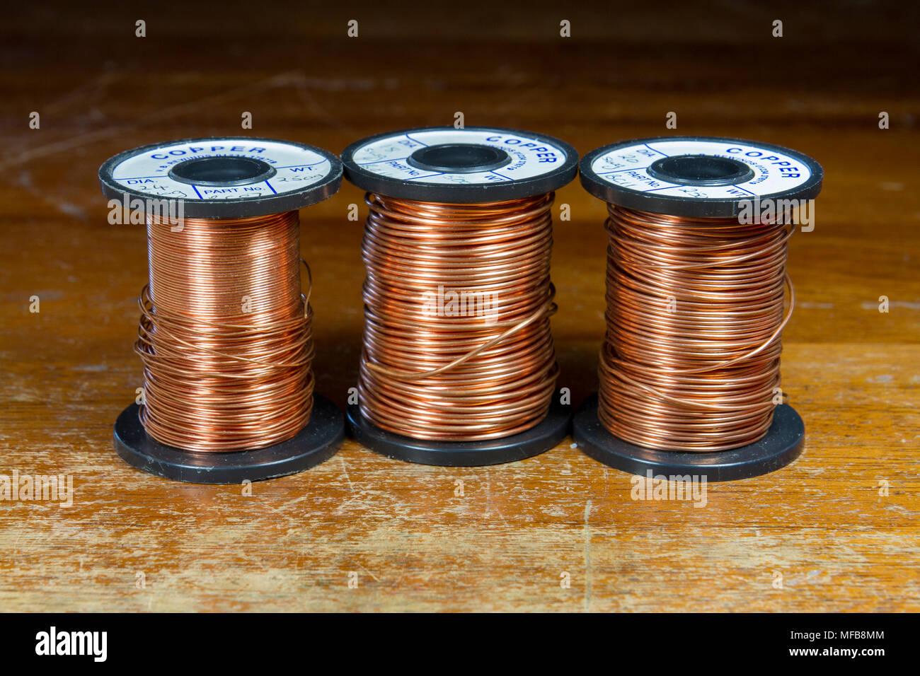 Spulen von Kupfer Draht, wie in einer britischen Sekundär-/High ...