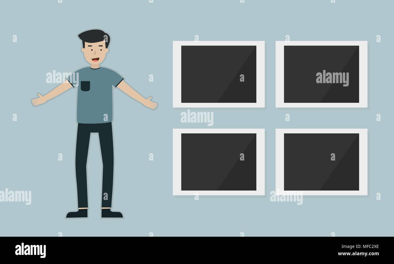 Ein Mann mit Bilderrahmen Galerie, Flachbild illustration Design ...