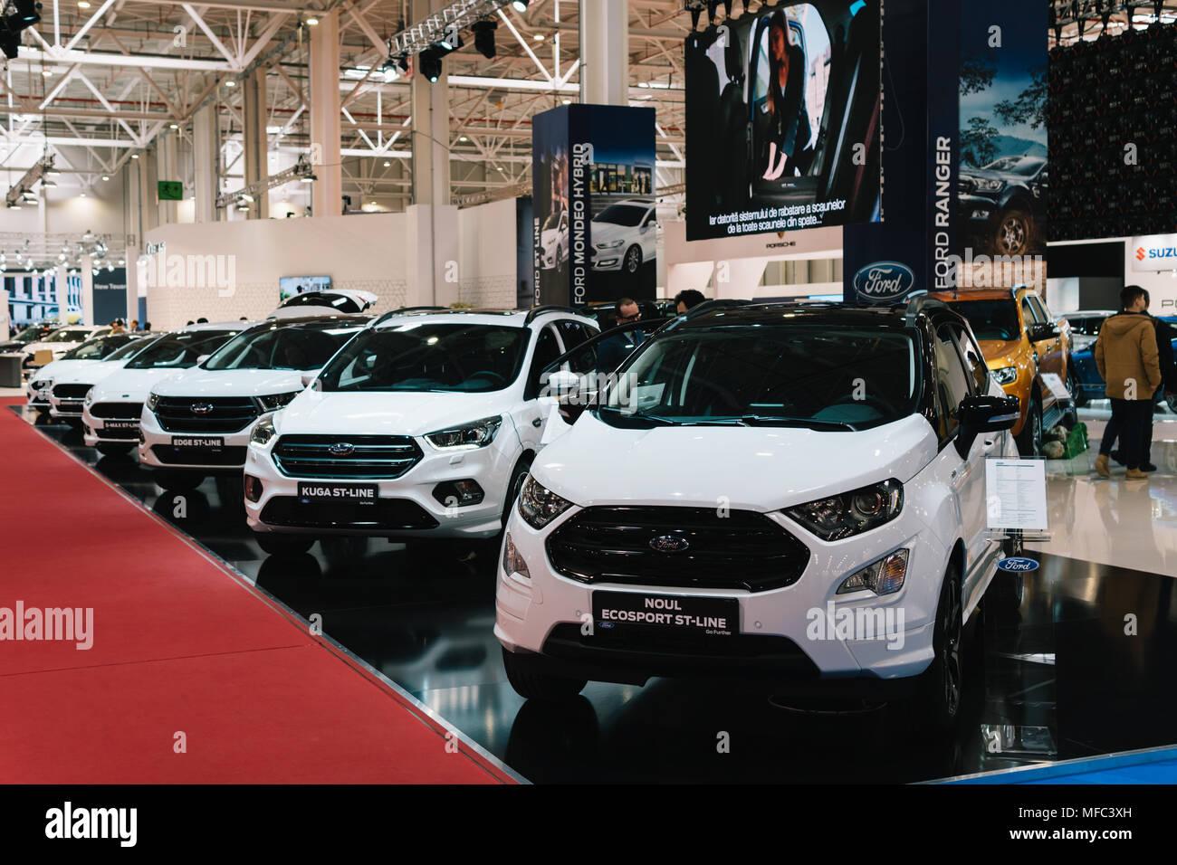 Bukarest, Rumänien - 28. MÄRZ 2018: Ford Autos in Bukarest International Auto Show Stockbild
