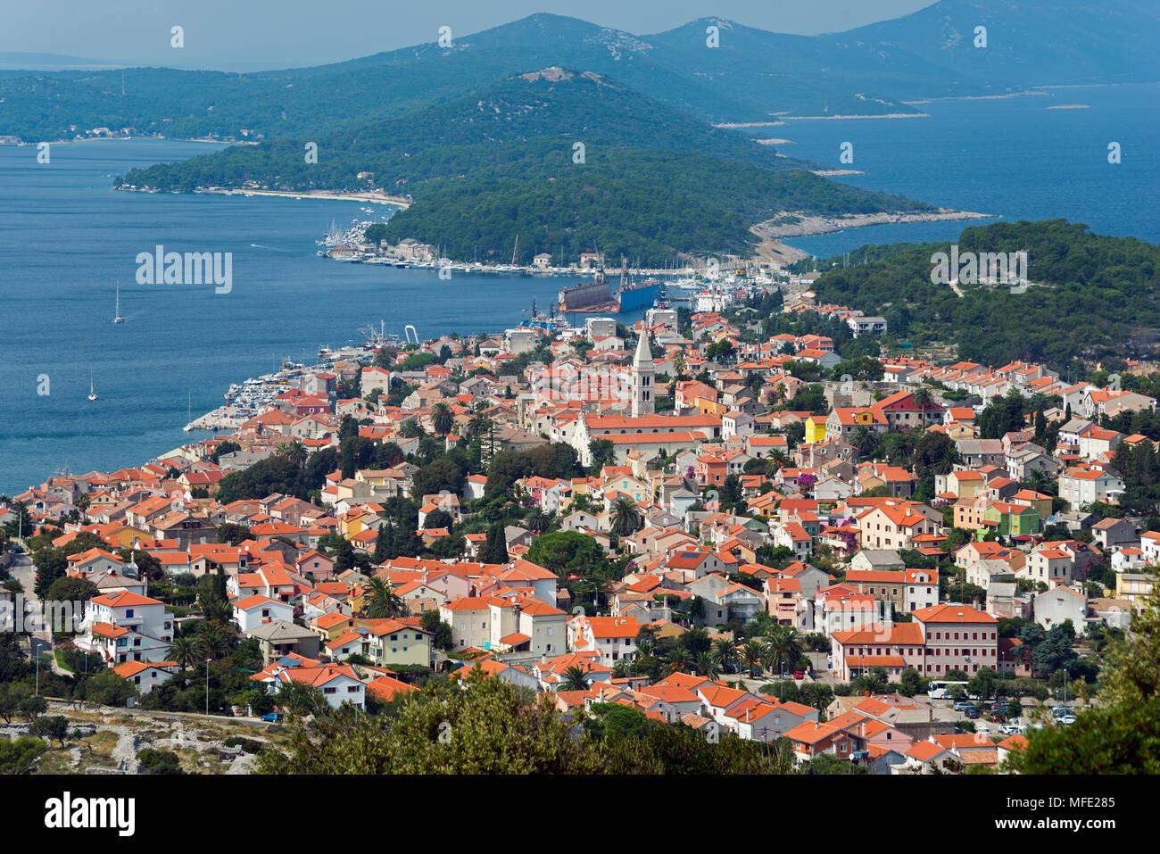 Anzeigen von Mali Losinj, Losinj, Golf von Kvarner Bucht, Kroatien Stockbild