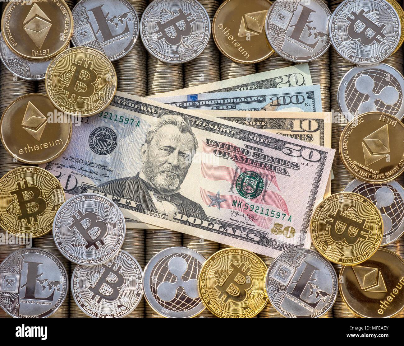 Silber Gold Crypto Münzen Des Astraleums Eth Welligkeit Xrp