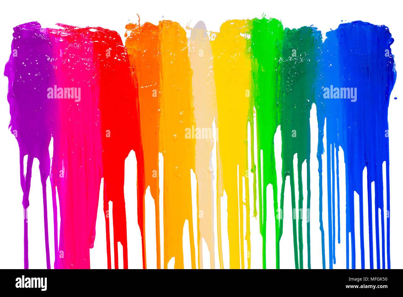 Regenbogen Farben Tropfen mit Freistellungspfad Stockfoto