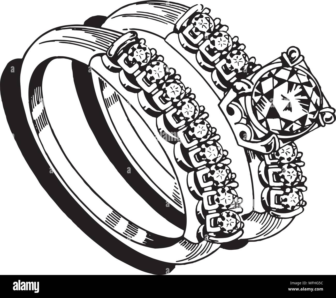 Meine Damen Hochzeit Ring Set 2 Retro Clipart Illustration Vektor