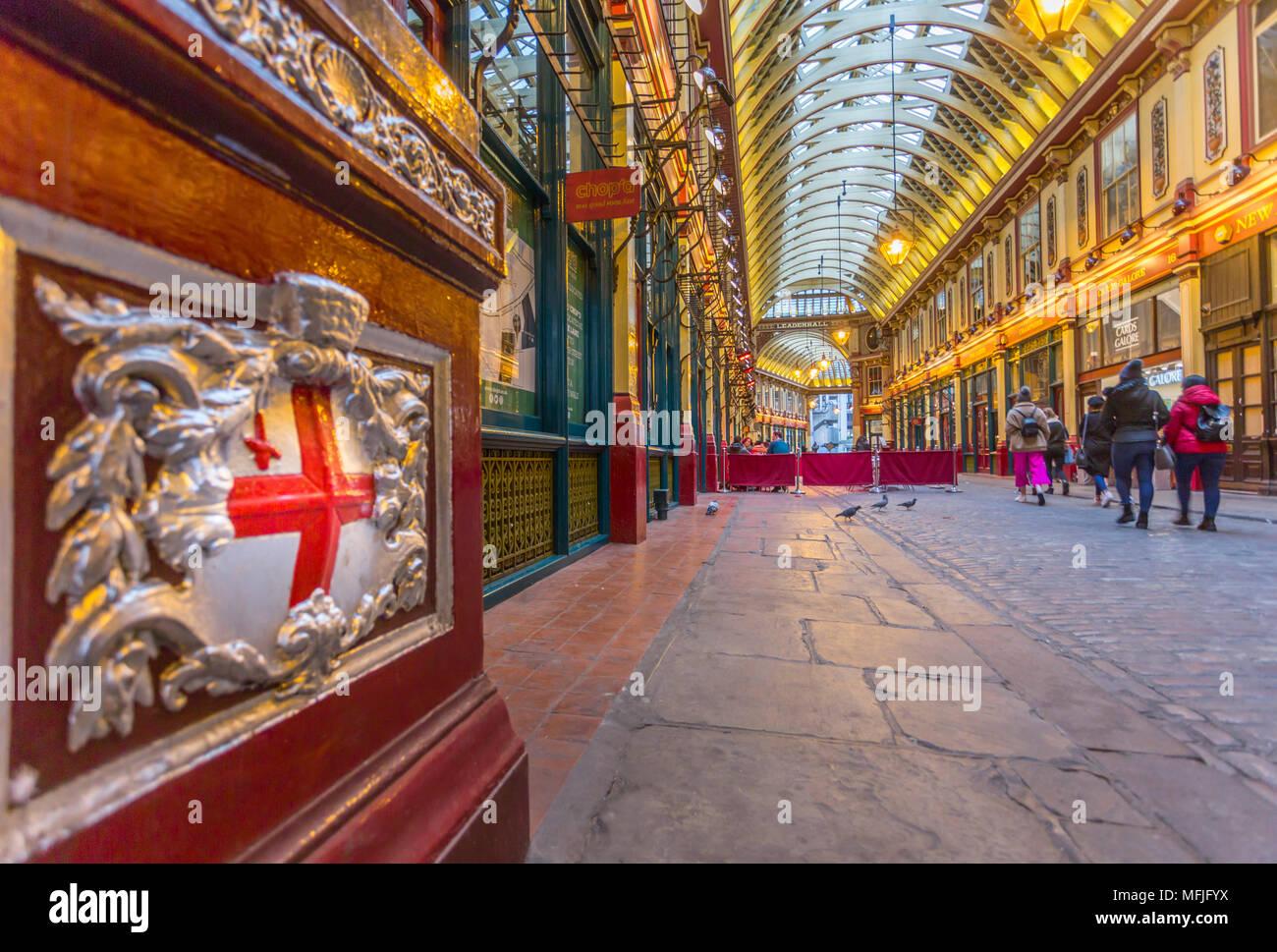 Blick auf den Innenbereich des Leadenhall Market, die Stadt, London, England, Vereinigtes Königreich, Europa Stockbild