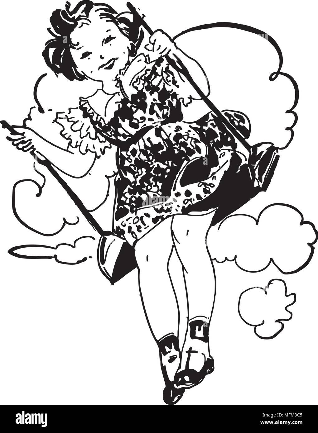 Kleines Mädchen Auf Schaukel Retro Clipart Illustration Vektor