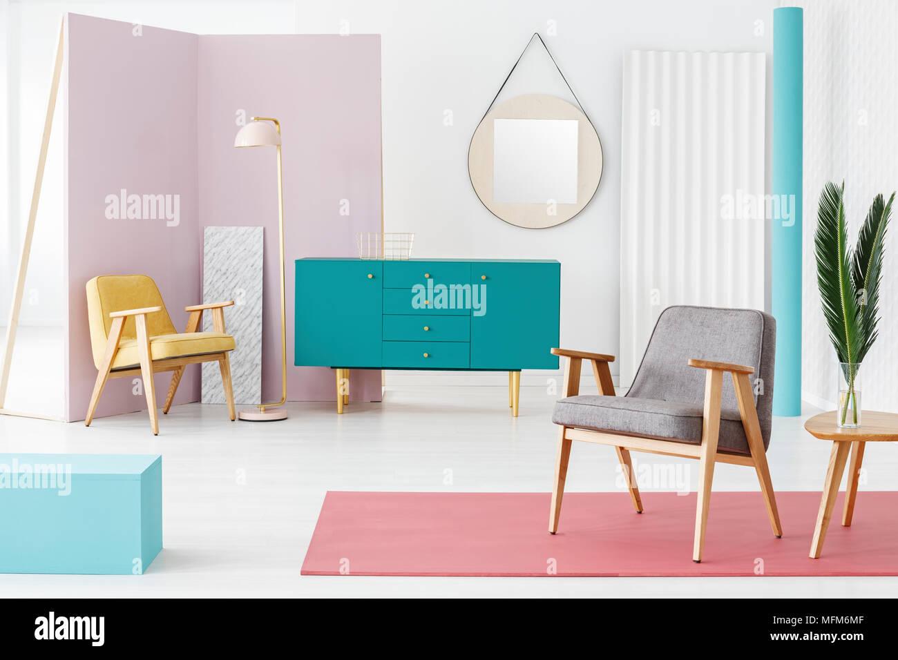 Kreative, Holzmöbel Komposition und Farbgebung Idee für eine moderne ...
