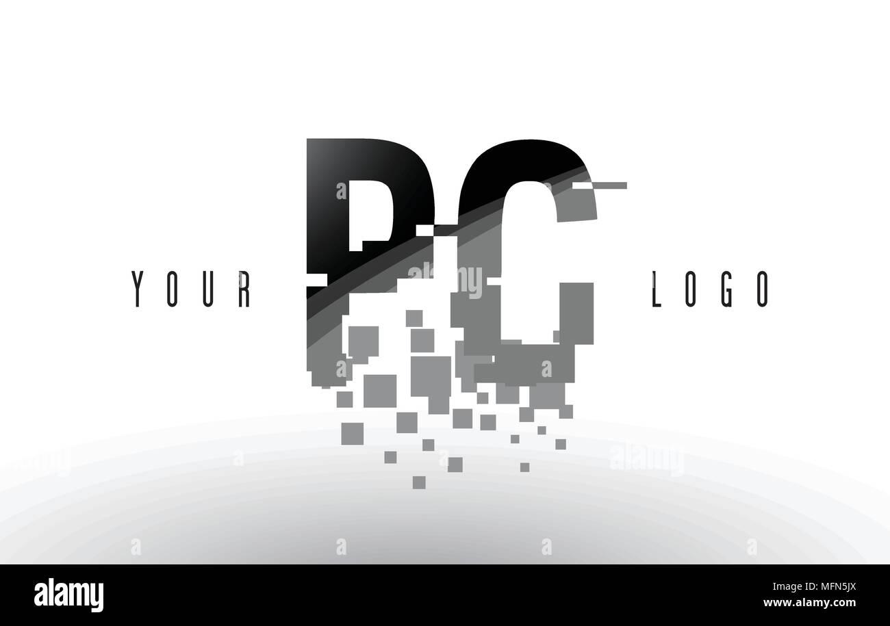 Pc P C Pixel Schreiben Logo Mit Digitalen Shattered Schwarzen