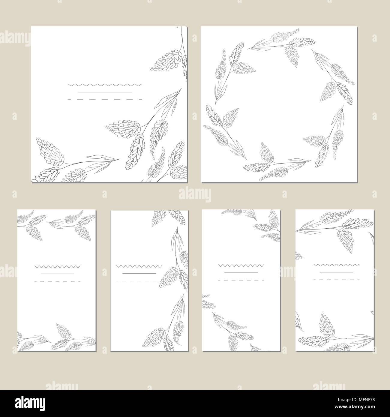 Der Vektor Universal Cards. Hochzeit, Jubiläum, Geburtstag, Party. Design  Für Poster, Karten, Einladung Broschüren Flyer Kreative Hand Texturen  Gezeichnet