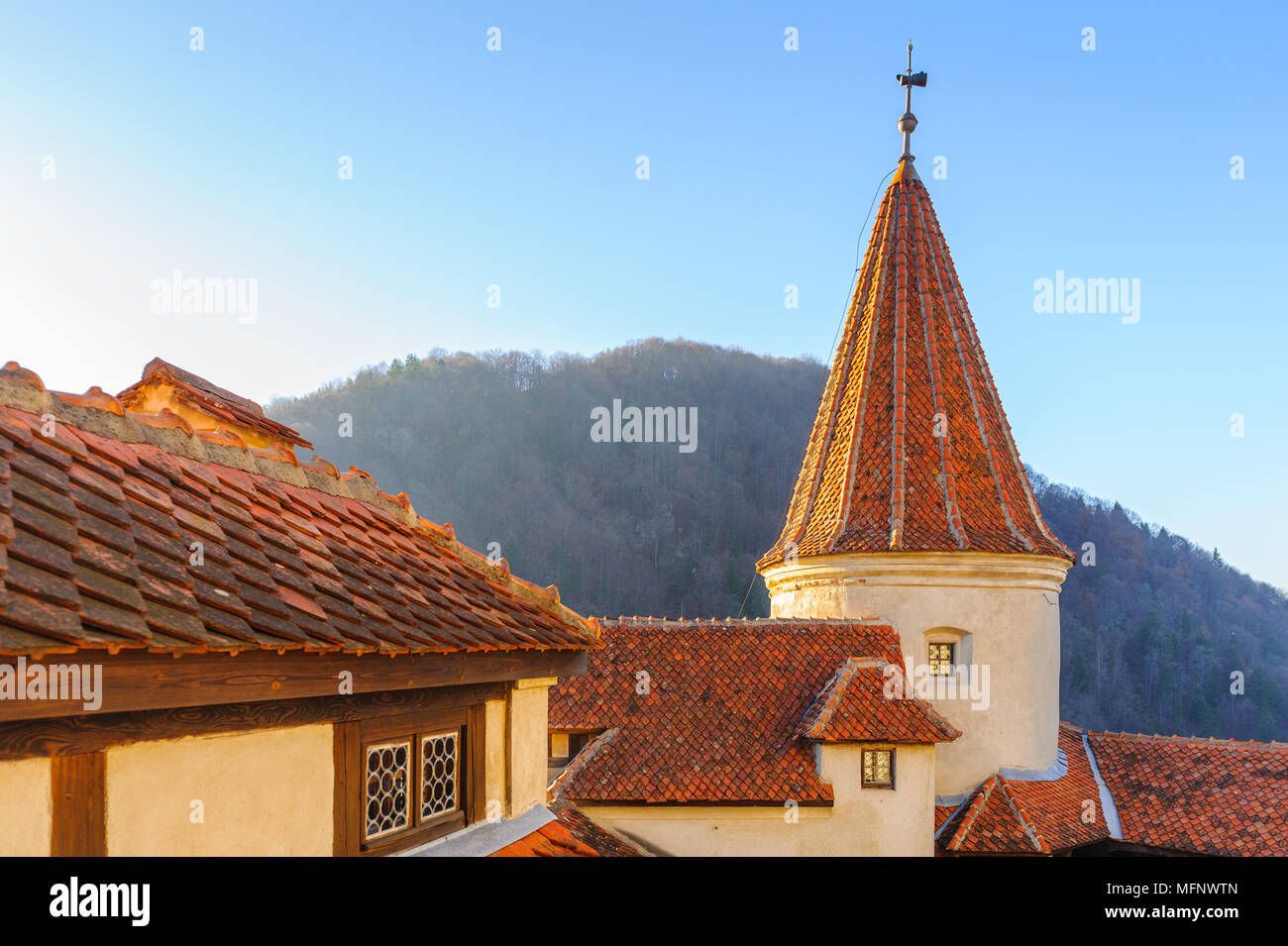 Turm der Burg Bran, Siebenbürgen, Rumänien Stockbild