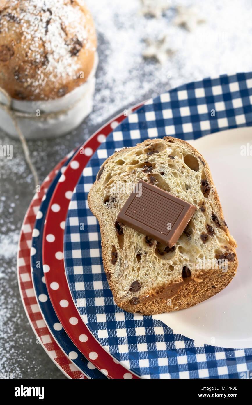 Panettone Mit Schokolade Die Typische Italienische Hefe Kuchen Für