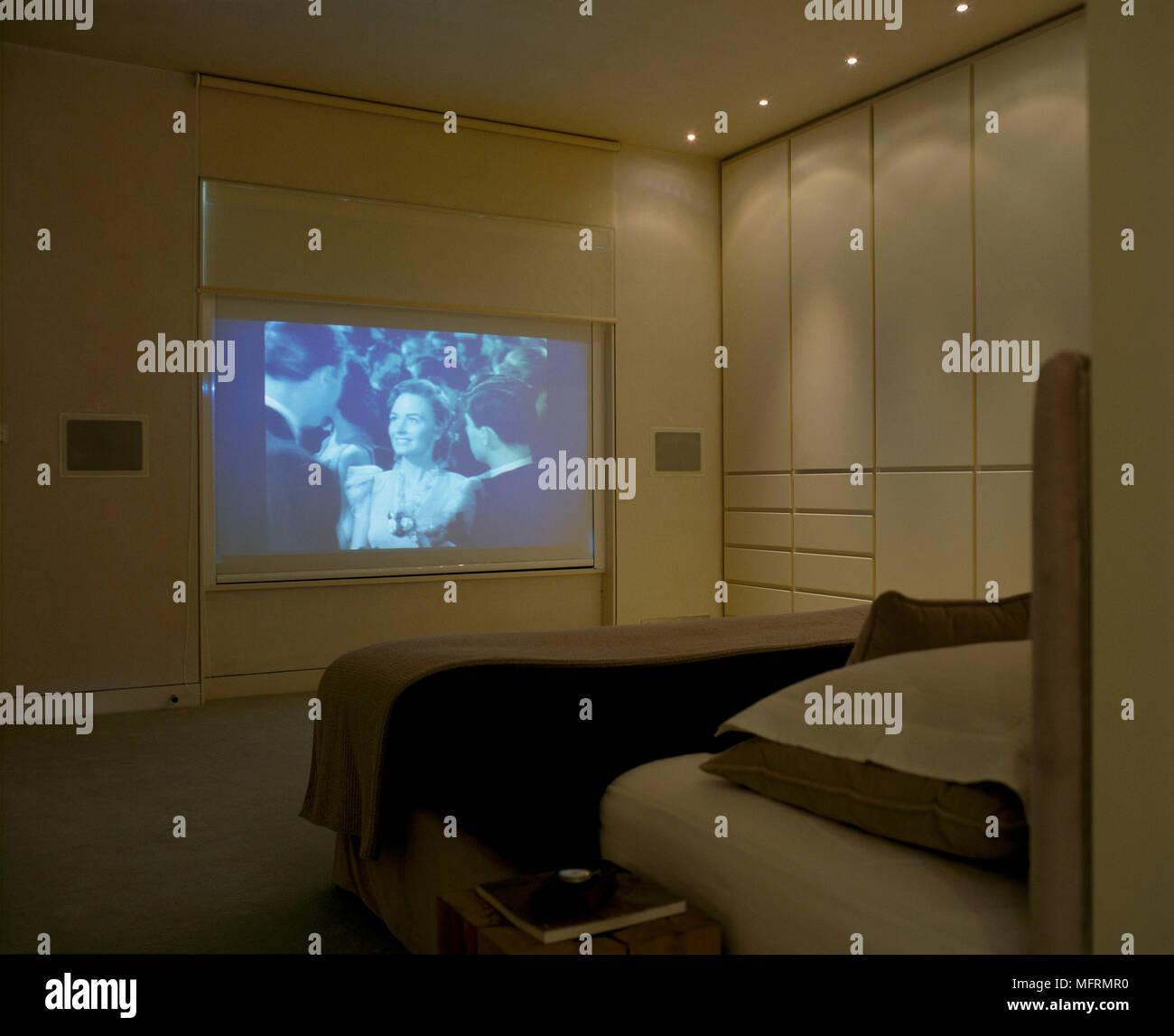 Eine moderne neutral minimalistischen Schlafzimmer mit ...