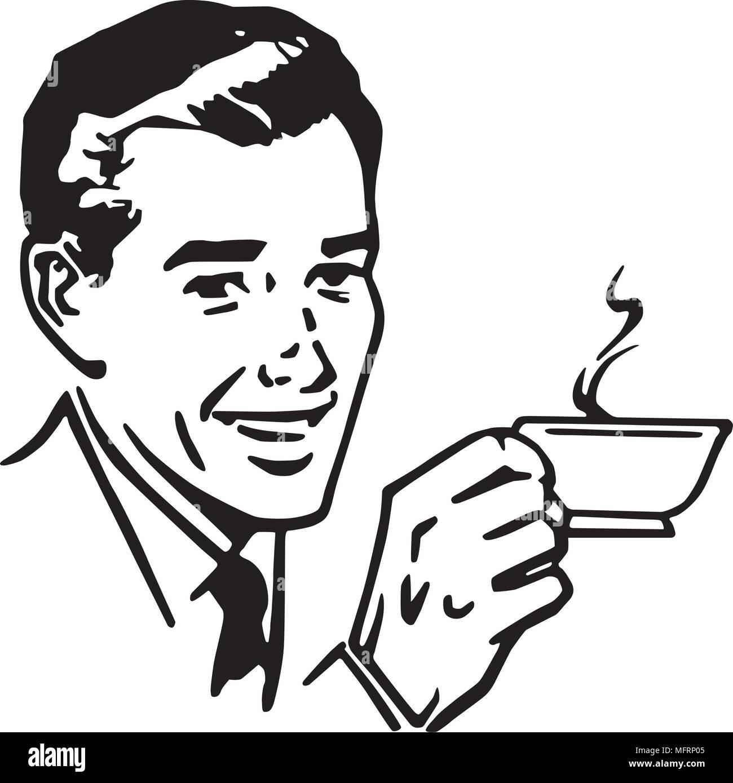 Mann mit Kaffee - Retro Clipart Illustration Vektor ...