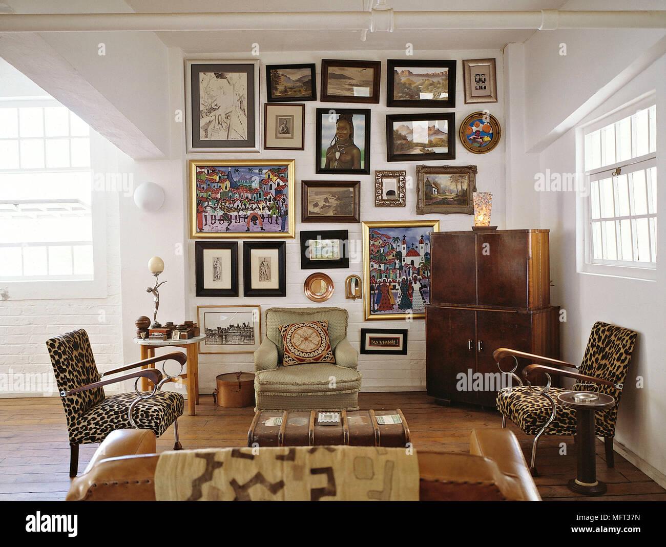Moderne Wohnzimmer gepolsterte Sessel tierdruck Stoff leder Sofa ...