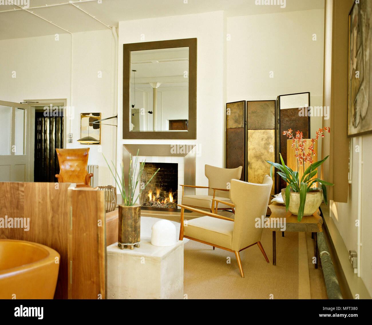 Moderne Wohnzimmer Kamin Angezundet Feuer Metall Surround Braune
