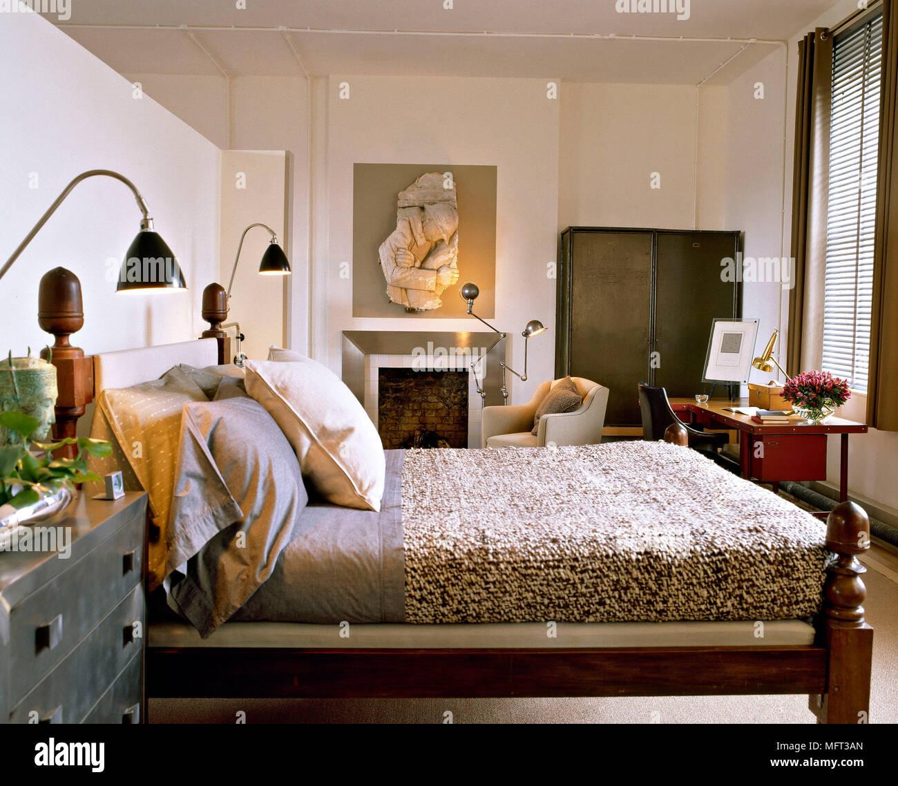 Moderne neutral Schlafzimmer Bett aus Holz strukturierte Abdeckung ...