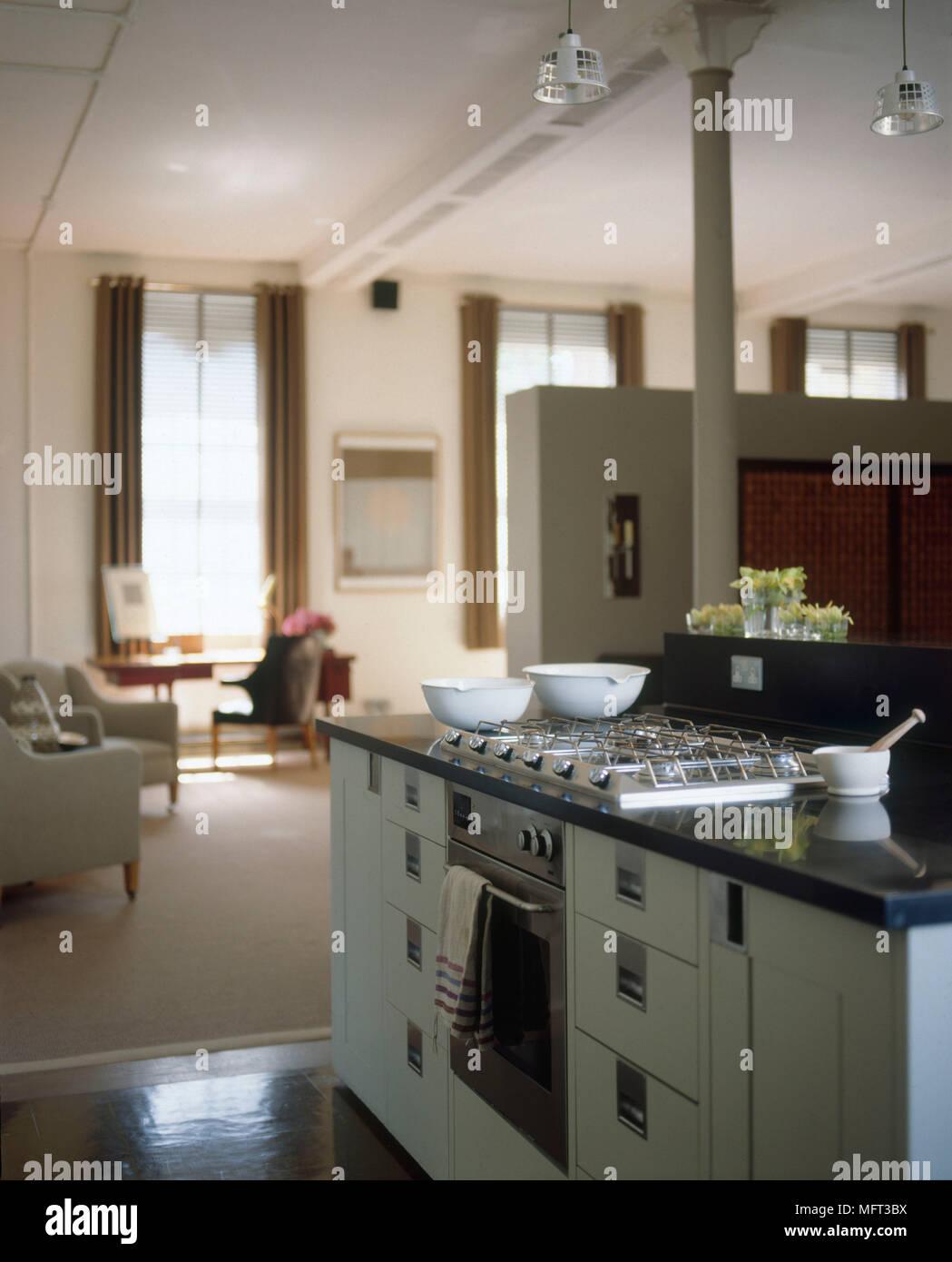 Moderne Küche detail Herd und Ofen in der Küche Insel grün ...