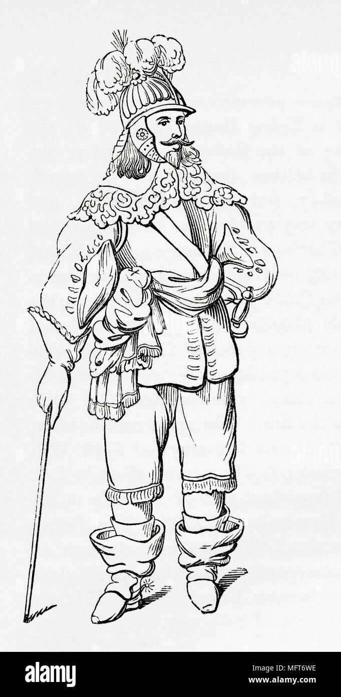 Ein Kavalier, 1620. Aus Old England: eine bildliche Museum, veröffentlicht 1847. Stockbild