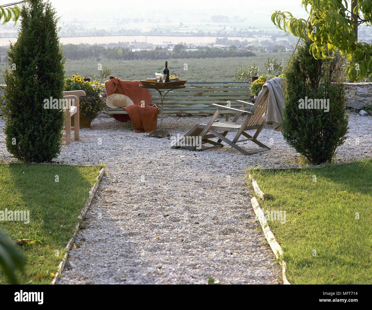 Garten Kies Terrasse Sitzbank Dampfgarer Stuhl Metall Tisch Gärten