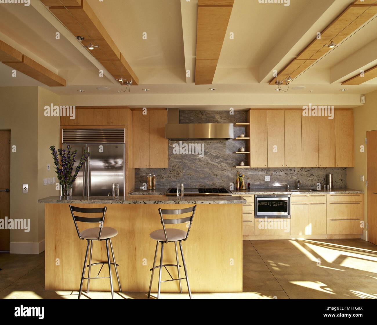 Relativ Moderne Küche mit holzpaneele an der Decke und Holz Stockfoto QU29